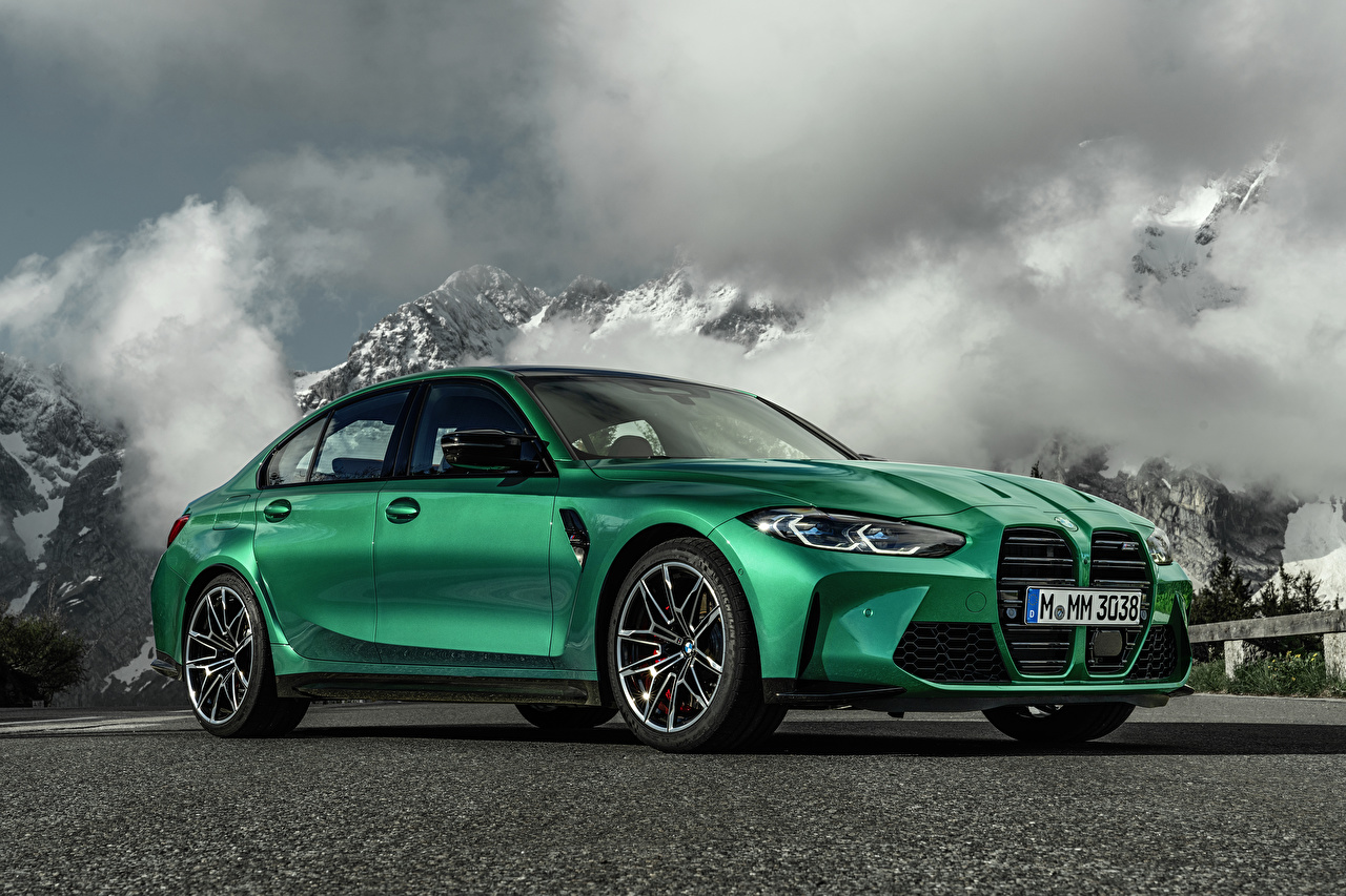 Desktop Wallpapers BMW M3 Competition, (G80), 2020 Green Metallic automobile Cars auto