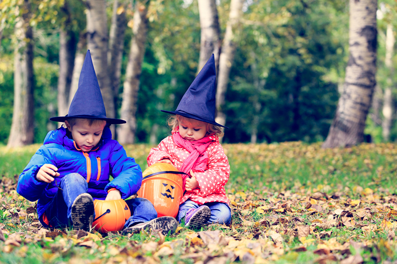 Fotos von Kleine Mädchen jungen Kinder Zwei Der Hut Kürbisse Halloween sitzen Feiertage Junge 2 sitzt Sitzend