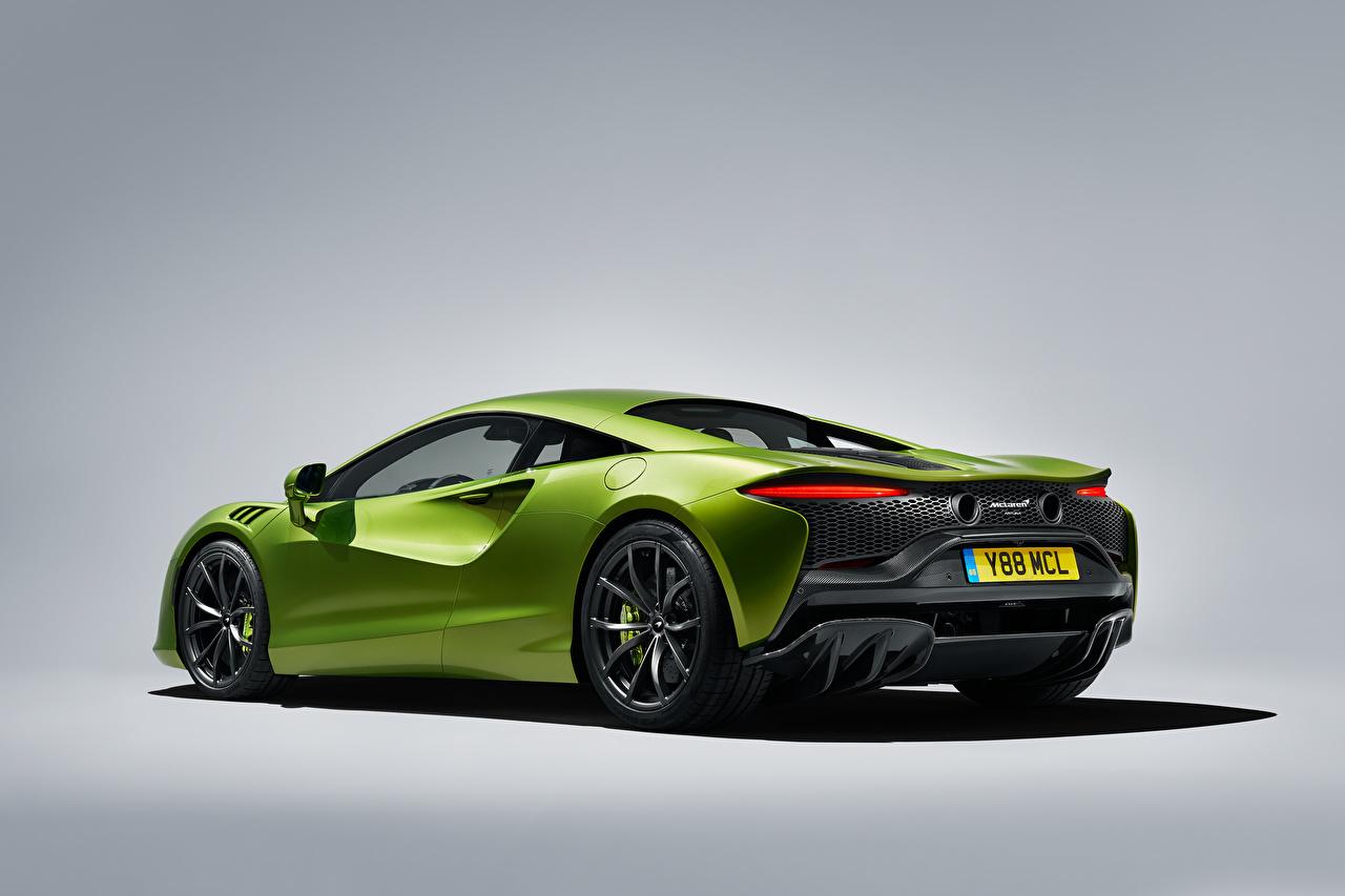 Photos McLaren Artura, Worldwide, 2021 Green auto Metallic Gray background Cars automobile