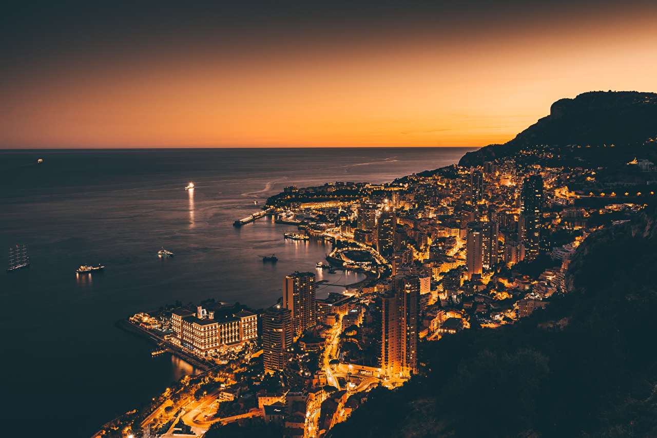 Wallpaper Monte Carlo Monaco Coast Night From above Houses Cities