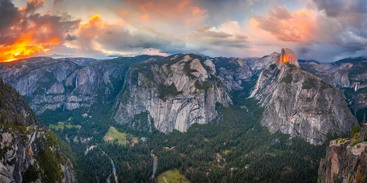 Images Yosemite California USA Panorama Glacier Point Crag Nature mountain park Scenery Clouds panoramic Rock Cliff Mountains Parks landscape photography