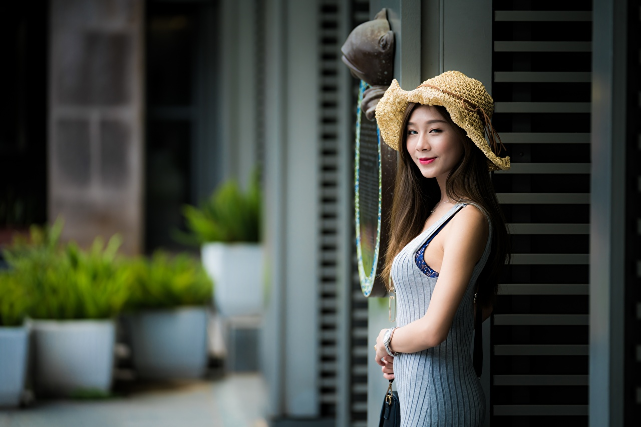 Photo Smile blurred background Hat Girls Asian Hands Bokeh female young woman Asiatic