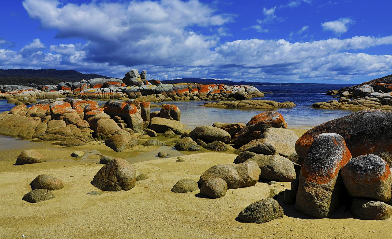 Pictures Australia Tasmania Nature Sky Coast Stones Clouds stone