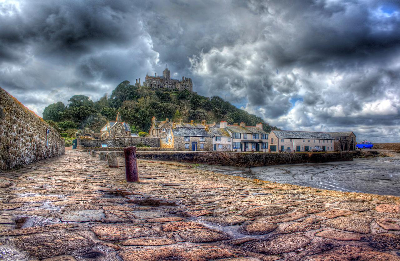 Desktop Wallpapers United Kingdom Sea HDR castle Coast Waterfront Clouds Cities HDRI Castles