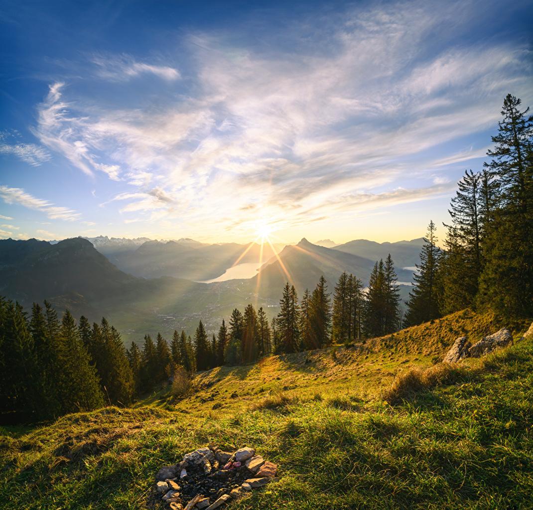 Desktop Wallpapers Alps Switzerland Grosser Mythen Sun Nature Mountains Sky Scenery Trees Clouds mountain landscape photography