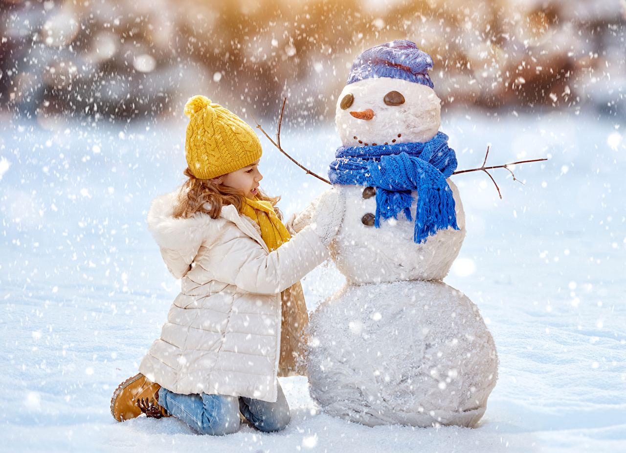 Fonds decran Hiver Petites filles Bonhommes de neige