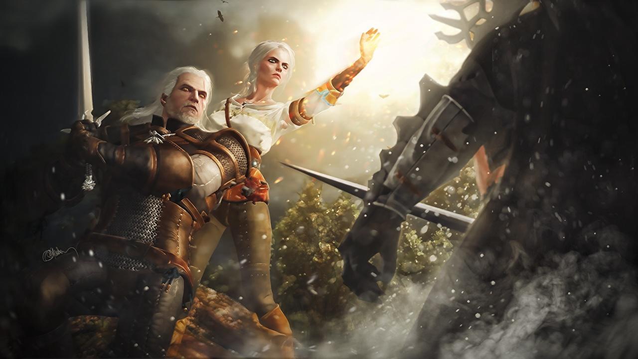 Fotos von Fantasy The Witcher 3: Wild Hunt Geralt von Rivia Krieger Ciri junge frau computerspiel Fan ART Spiele Mädchens junge Frauen Fanart