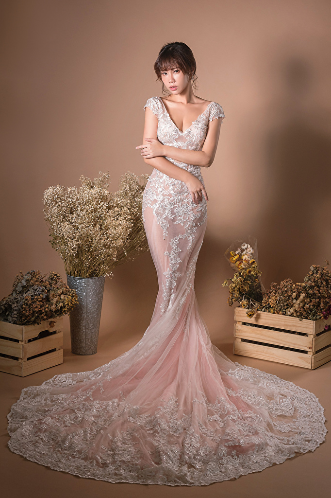 Picture Pose bouquet Girls Asian Hands Glance gown  for Mobile phone posing Bouquets female young woman Asiatic Staring frock Dress