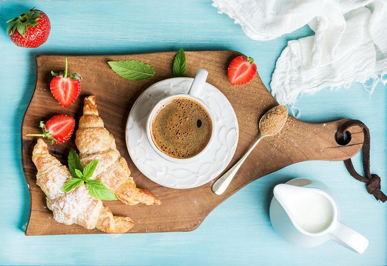Photos Sugar Cream Coffee Croissant Breakfast Strawberry Cup Food Saucer Cutting board