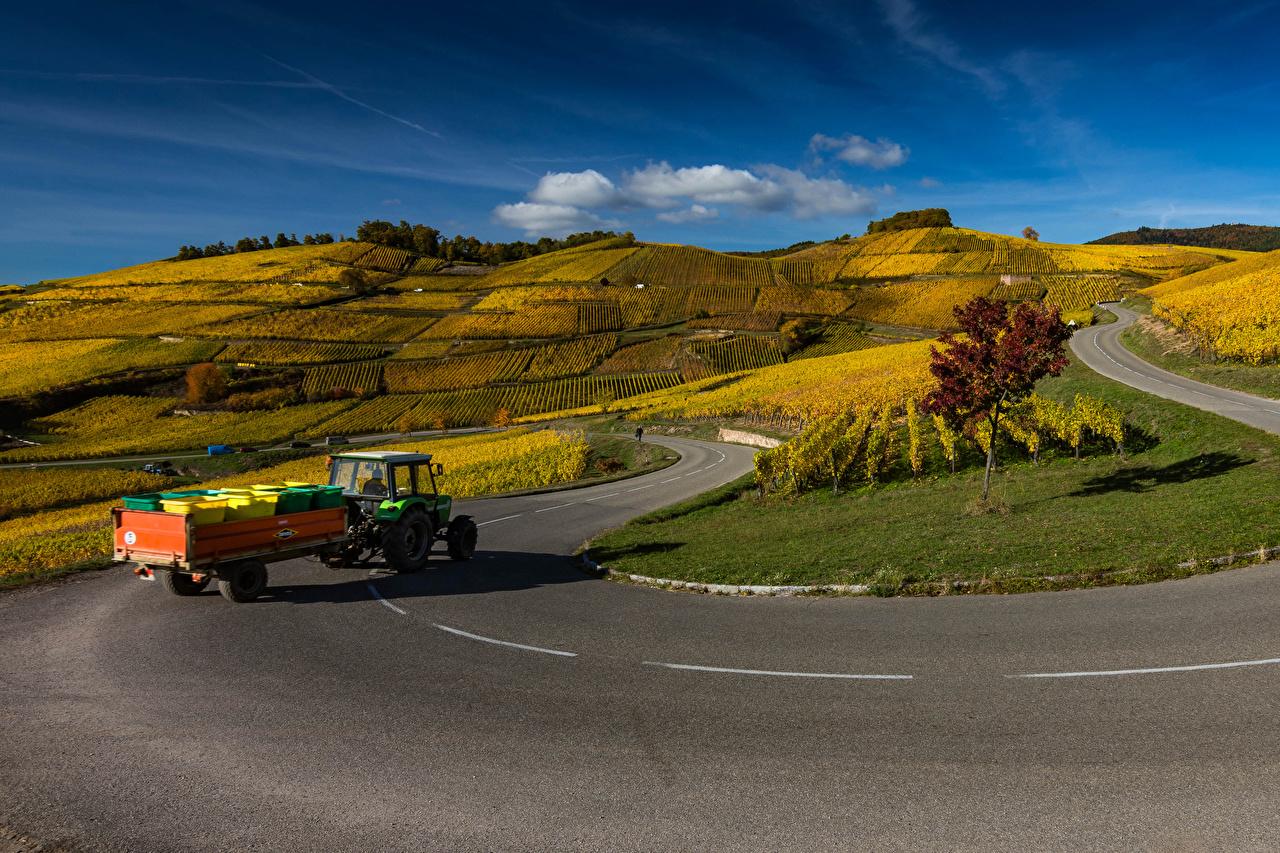 Foto Frankreich Traktor Alsace Natur Wege Hügel Felder traktoren Acker Straße