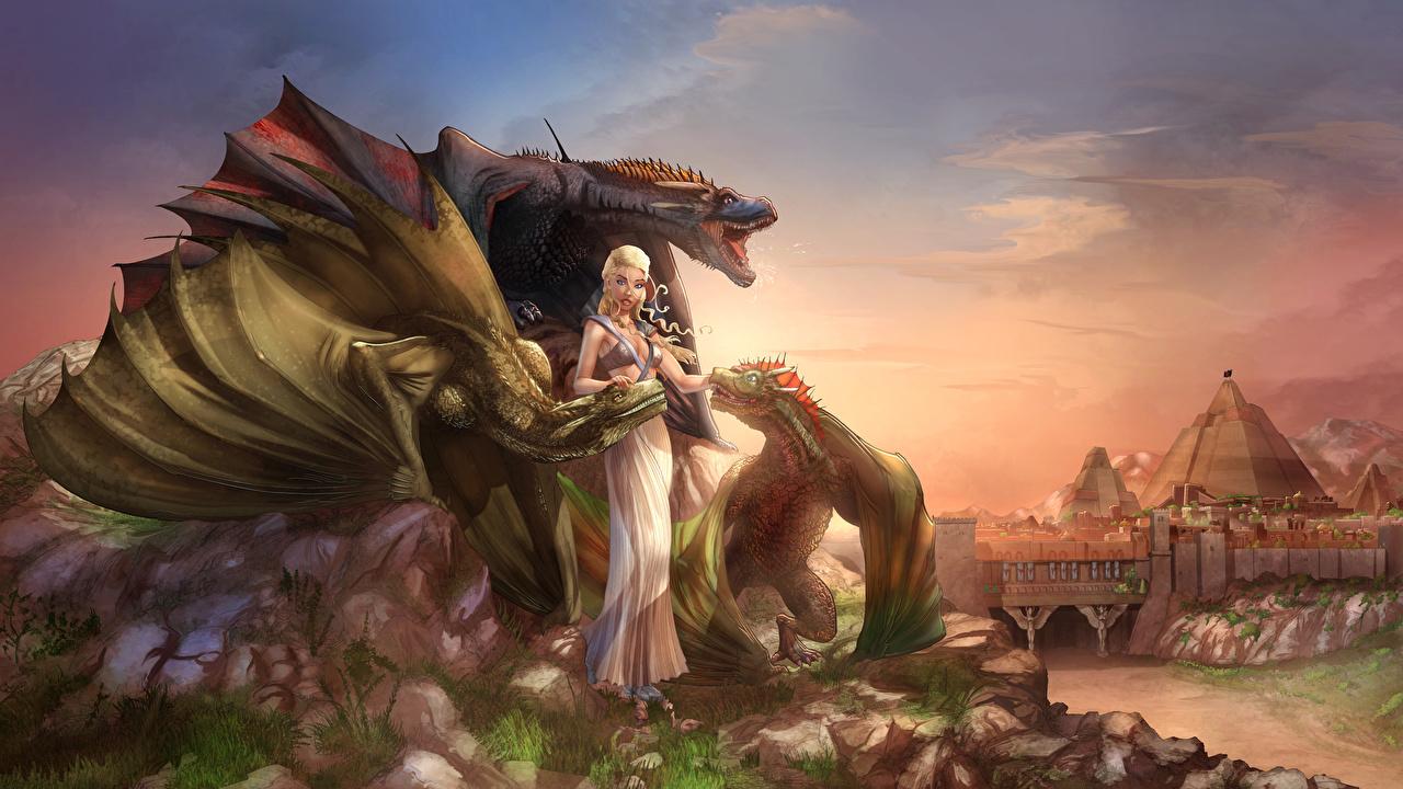 Desktop Wallpapers Daenerys Targaryen Dragon Illustrations To Books