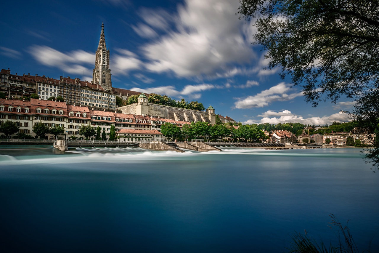 Images Cathedral Switzerland Aare River, Bern Minster Coast Cities Building Houses