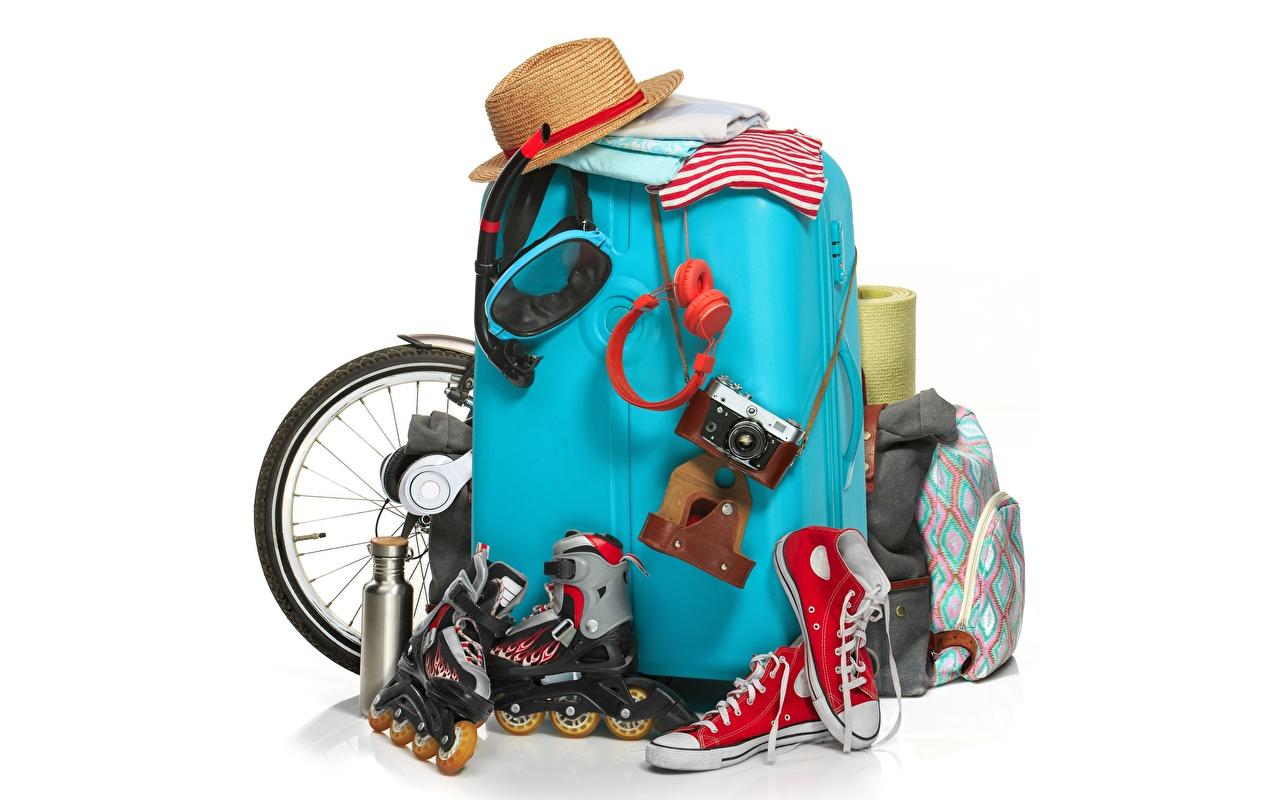 Image Tourism Plimsoll shoe Hat Roller skates Suitcase White background
