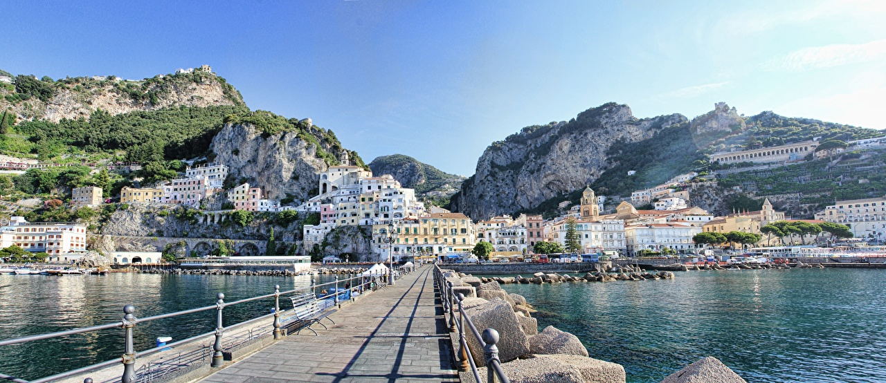 Image Amalfi Italy Salerno Bridges stone Coast Cities bridge Stones