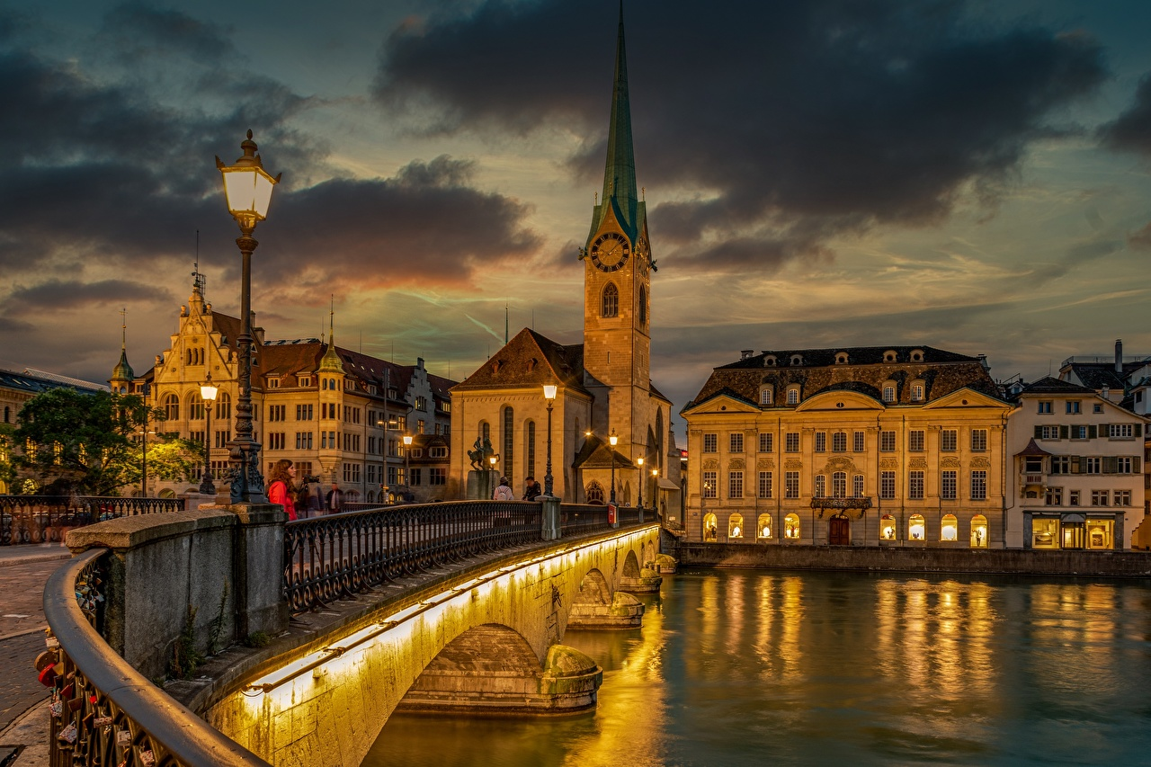 Wallpaper Zurich Switzerland Limmat Bridges river Street lights Cities Building bridge Rivers Houses