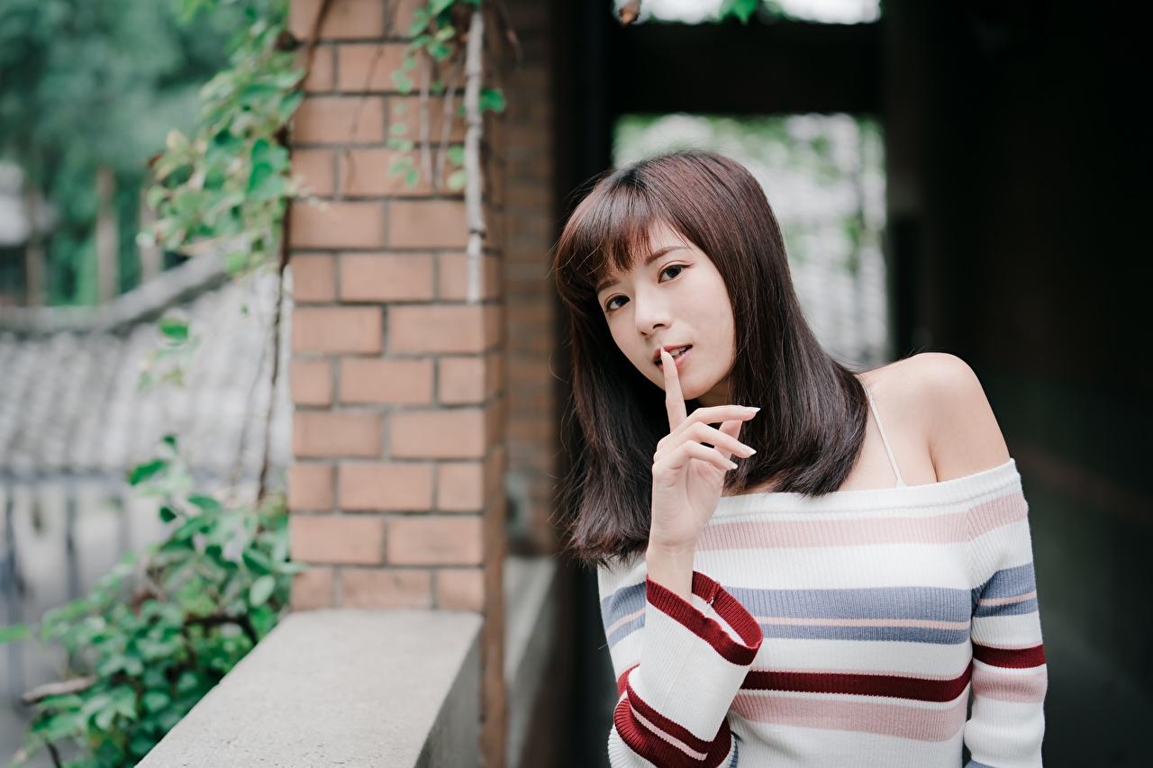 Bilder von Braunhaarige Gestik Bokeh junge frau Sweatshirt Asiatische Hand Starren Braune Haare unscharfer Hintergrund Mädchens junge Frauen Asiaten asiatisches Blick