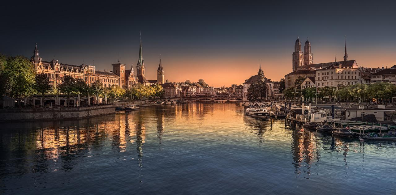 Suíça Manhã Zurique Casa Rios Barcos Pontes Panorama rio, ponte, Edifício, panorâmica Cidades