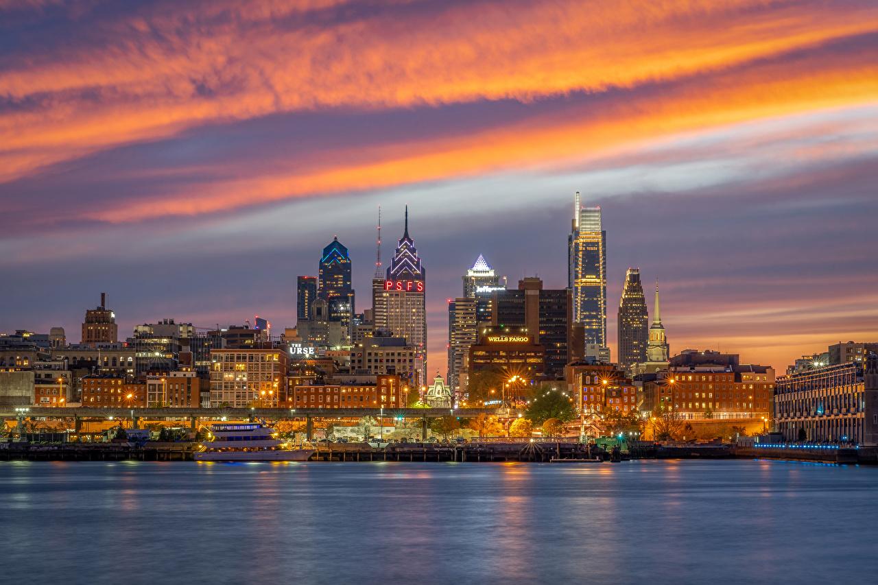 zdjęcia stany zjednoczone Philadelphia rzeka Wieczór Przystań Domy Miasta USA Rzeki miasto budynki budynek