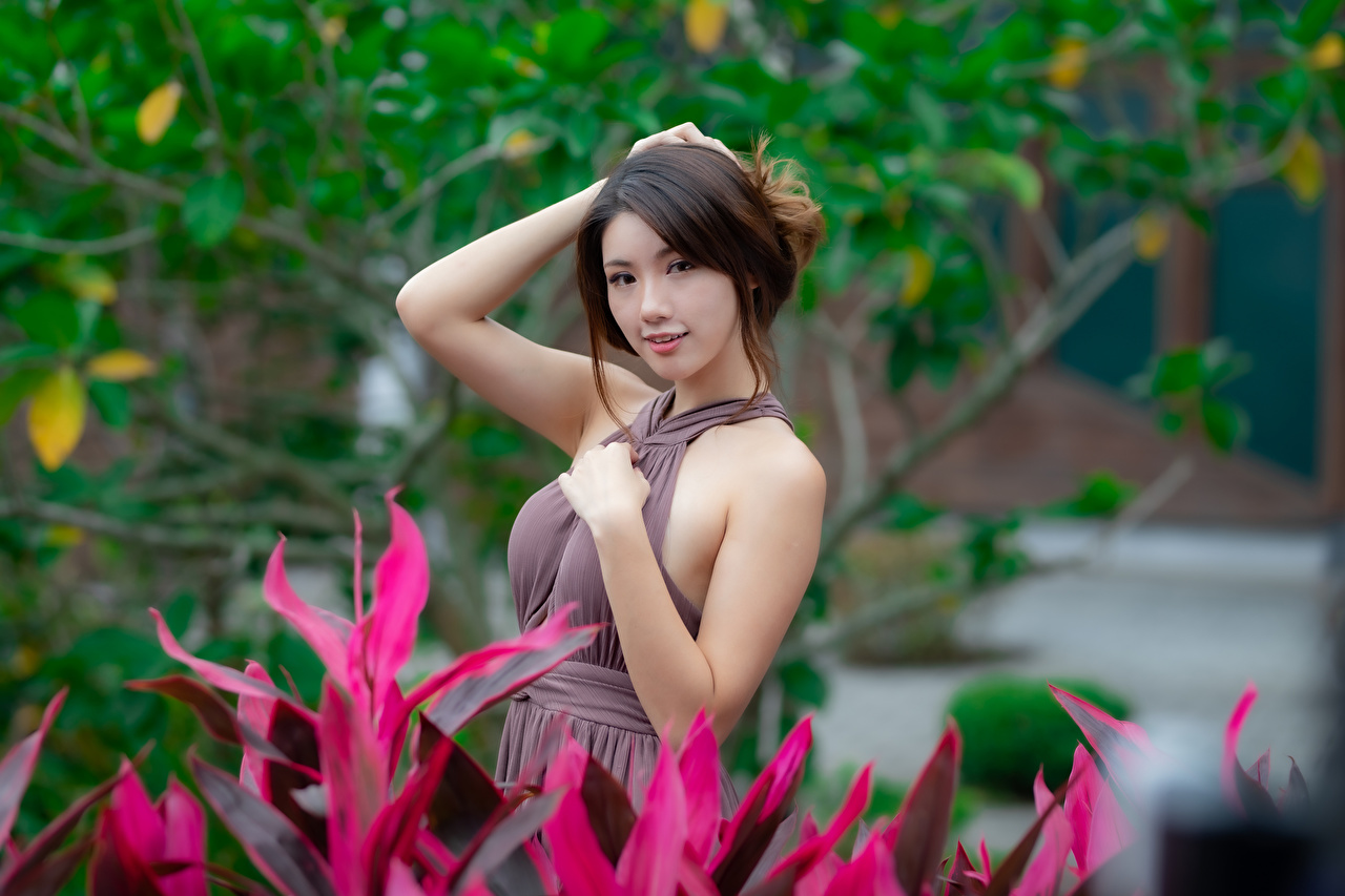 Photo Bokeh Pose Girls Asiatic Hands Staring Dress blurred background posing female young woman Asian Glance gown frock