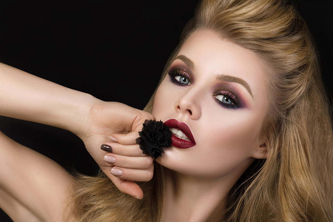 Picture Blonde girl Makeup young woman Hands Staring Black background Girls female Glance