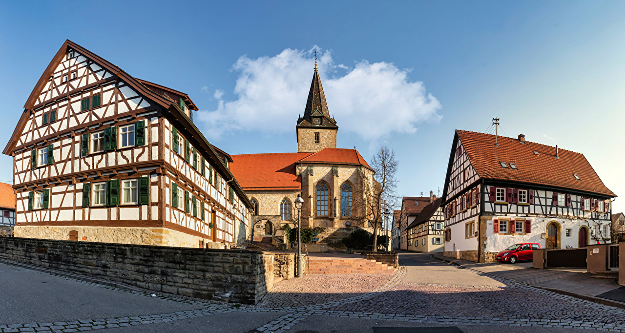 Image Church Germany Baden-Wuerttemberg Street temple Street lights Houses Cities Temples Building