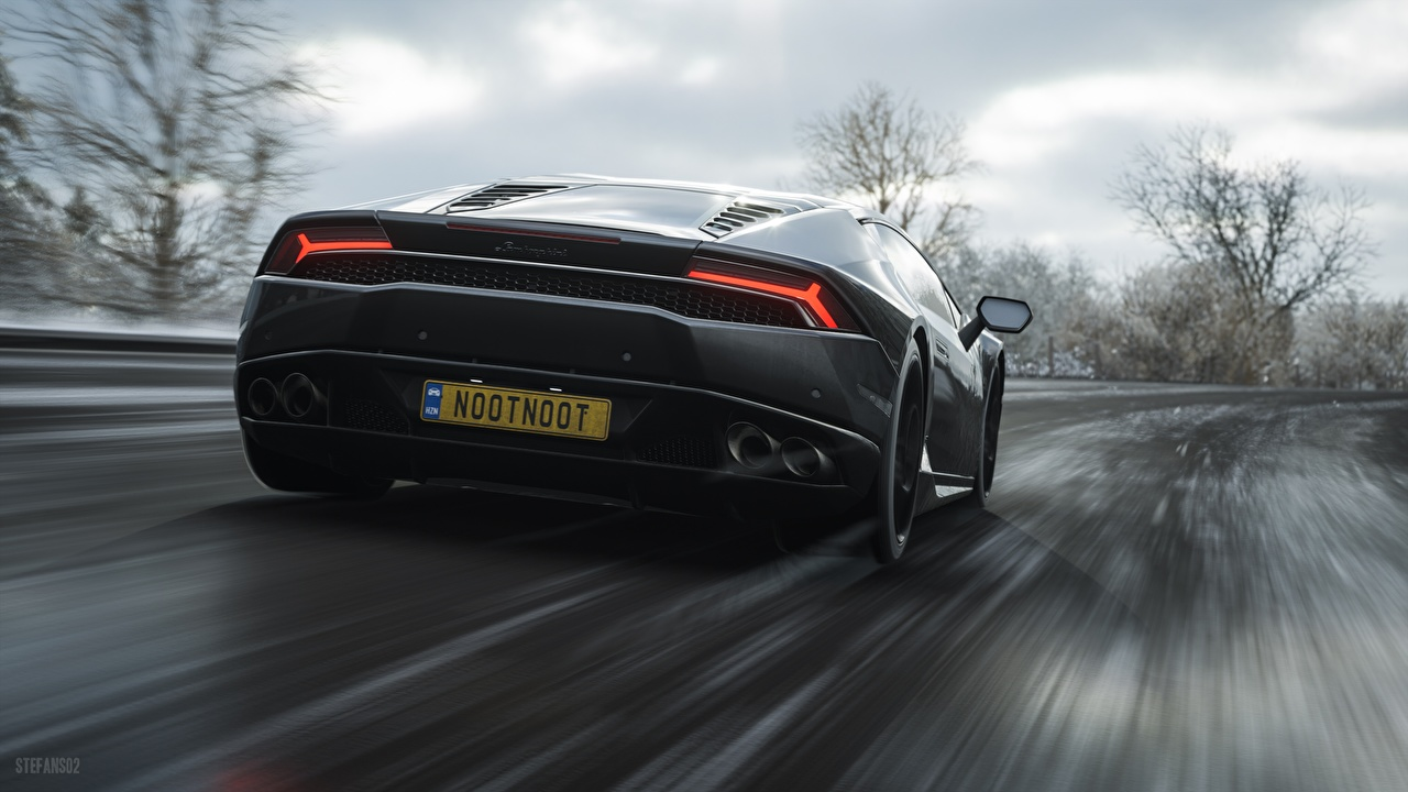 Pictures Cars Lamborghini Huracan Motion Back view Games Forza Horizon 4 auto automobile