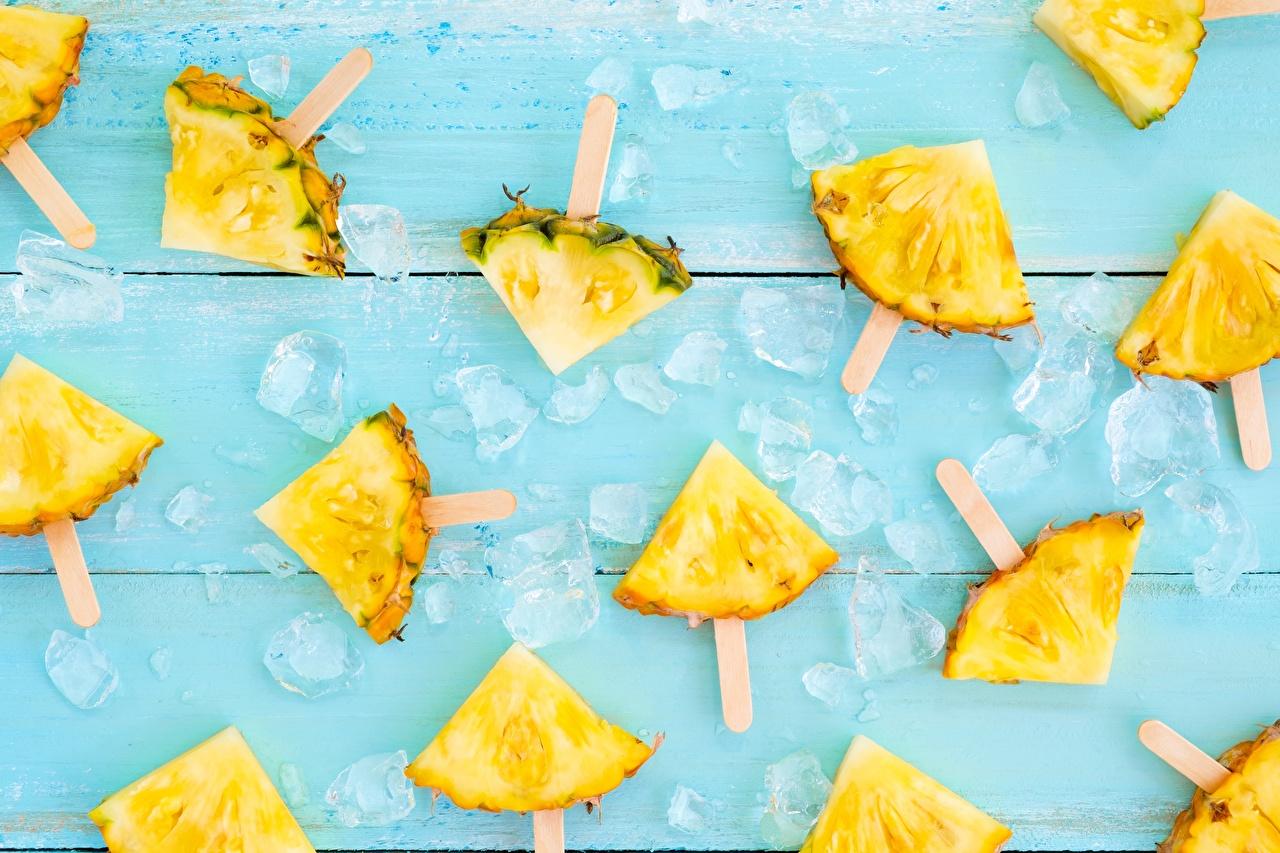 Photos Ice Piece Pineapples Food pieces