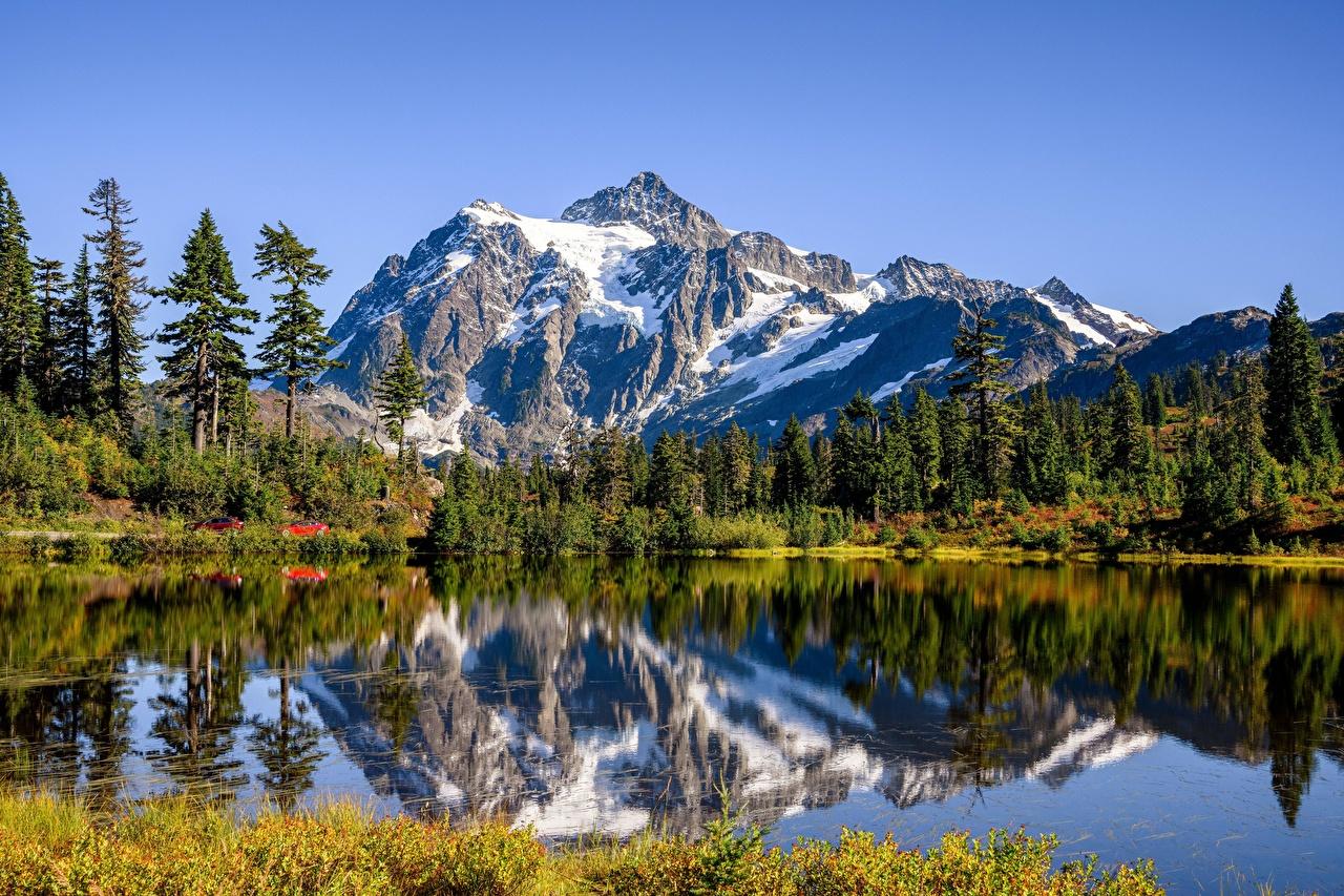 Picture USA Picture Lake, Mount Shuksan, Cascade Range Nature Mountains Lake Reflection Trees mountain reflected