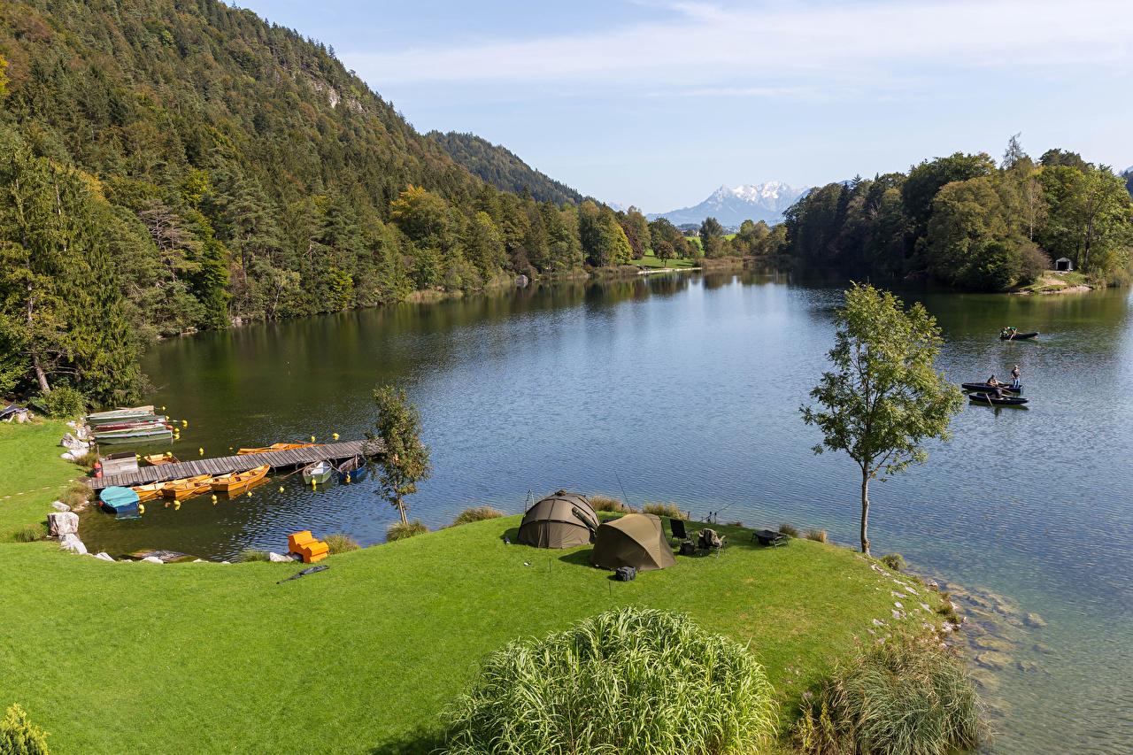 Photos Austria Lake Reintaler Tyrol Crag Nature Pier Coast Trees Rock Cliff Berth Marinas