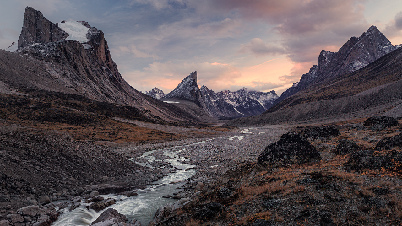 Photo Canada Auyuittuq National Park Crag Creek Nature mountain park Rock Cliff brook Stream Creeks Streams Mountains Parks