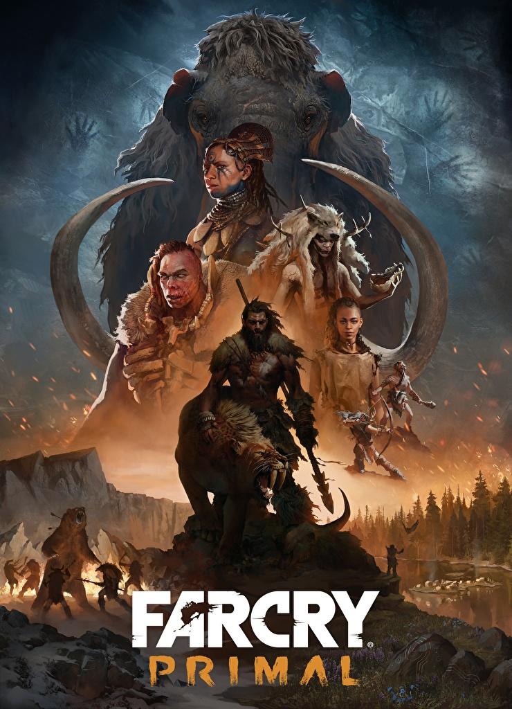 Foto Far Cry Primal Speer Mammute Schamane Mann Spiele