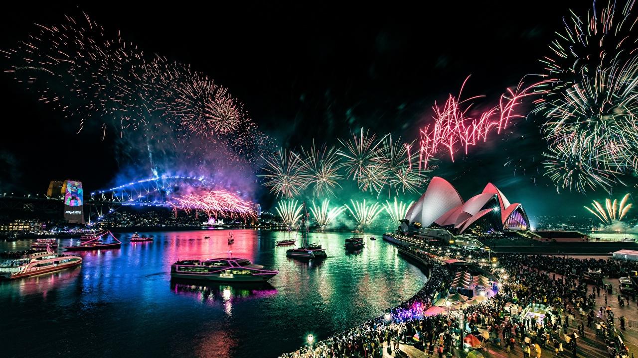 Desktop Wallpapers Sydney Fireworks Australia Opera House night time Waterfront Cities Night