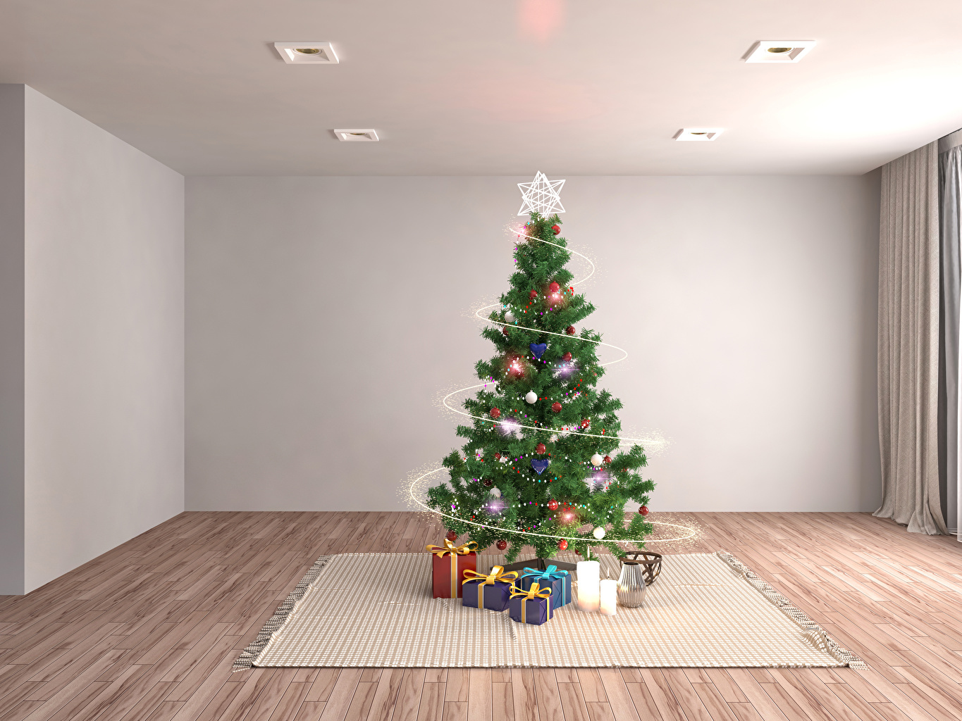 Image Christmas 3D Graphics New Year tree Gifts Rug Fairy lights Holidays New year Christmas tree present Carpet