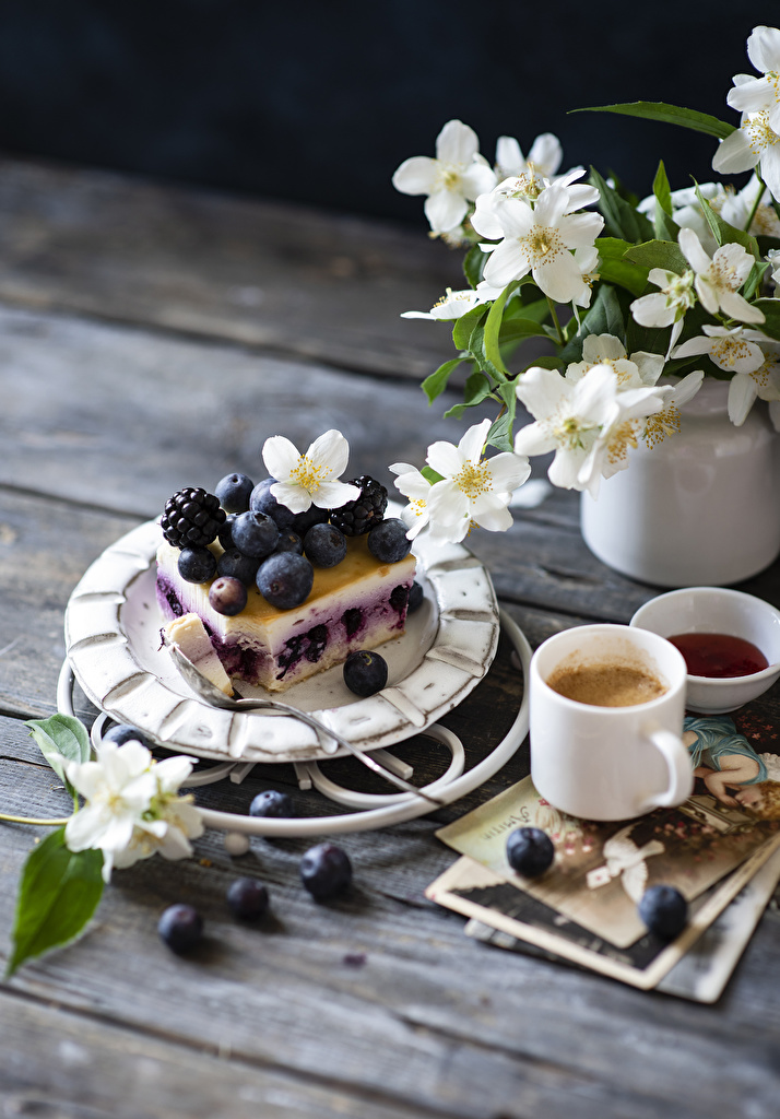 Wallpaper Coffee Cappuccino Blackberry Blueberries Mug Food Branches Still-life Little cakes Wood planks  for Mobile phone boards