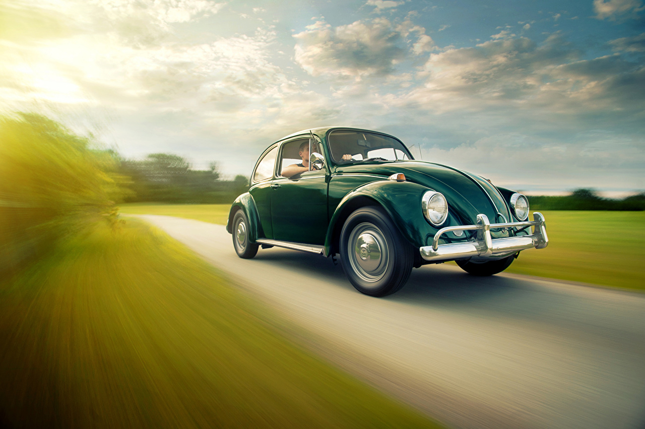 Image Volkswagen Beetle Green Motion Cars moving riding driving at speed auto automobile