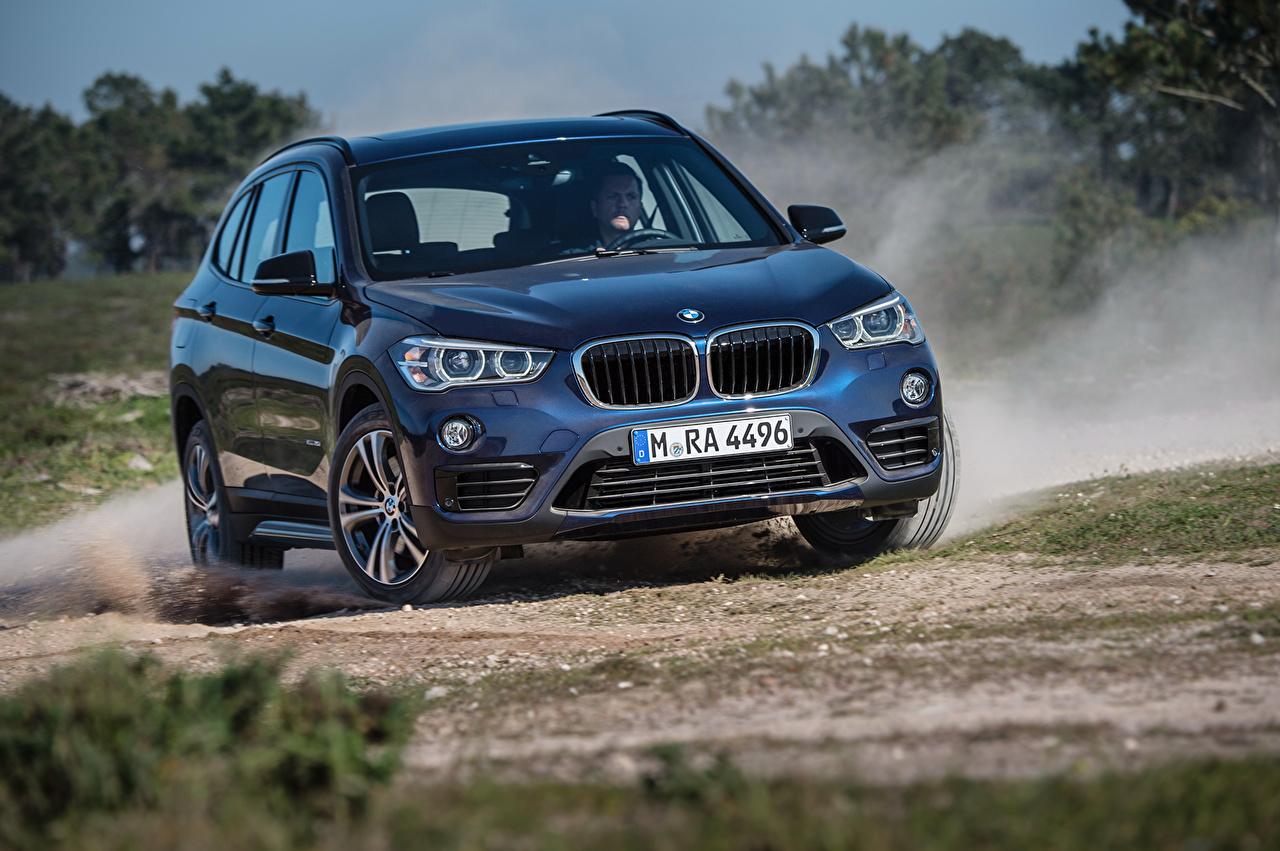 Wallpaper BMW 2015 X1 xDrive Sport Line F48 Blue Front automobile Cars auto