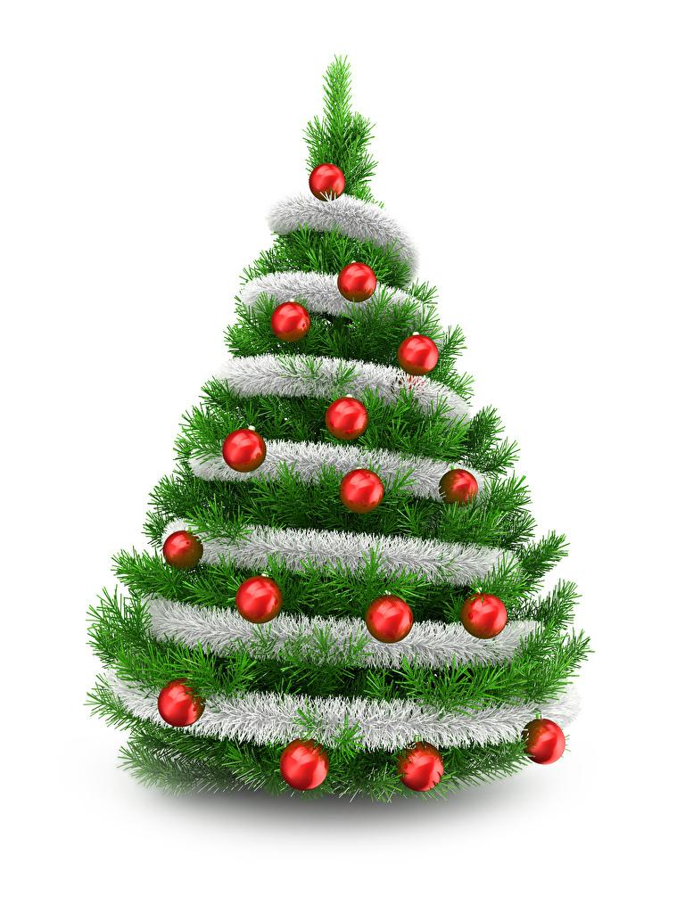 Christmas Tree White Background.Photo New Year 3d Graphics Christmas Tree Balls White Background