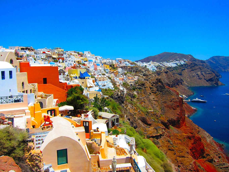 Photos Santorini Greece Crag Coast Houses Cities Thera Thira Rock Cliff Building