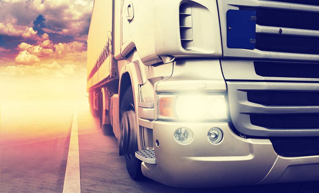 Pictures lorry White Cars Headlights Closeup Trucks auto automobile
