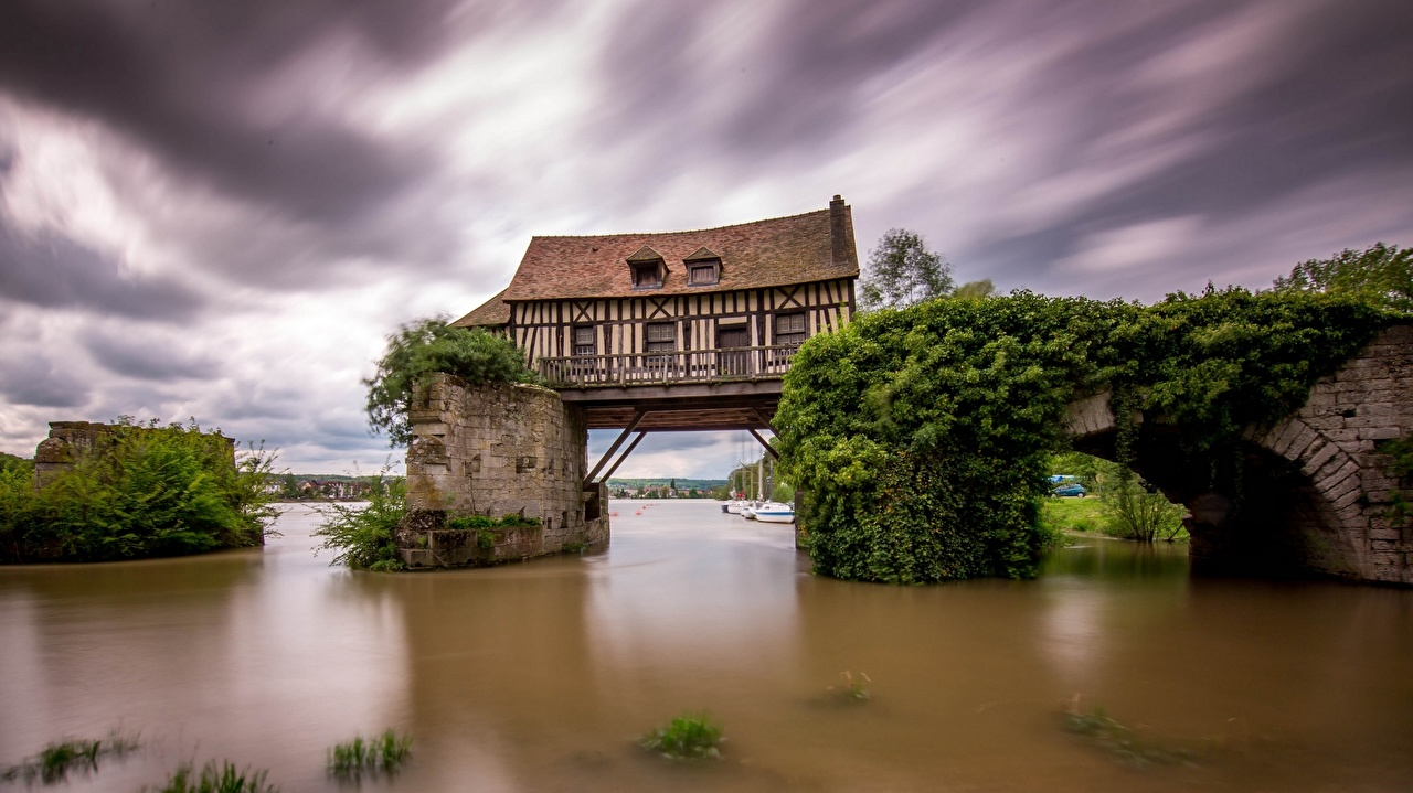 Image France Seine Vernon Nature Creative Rivers Houses river Building