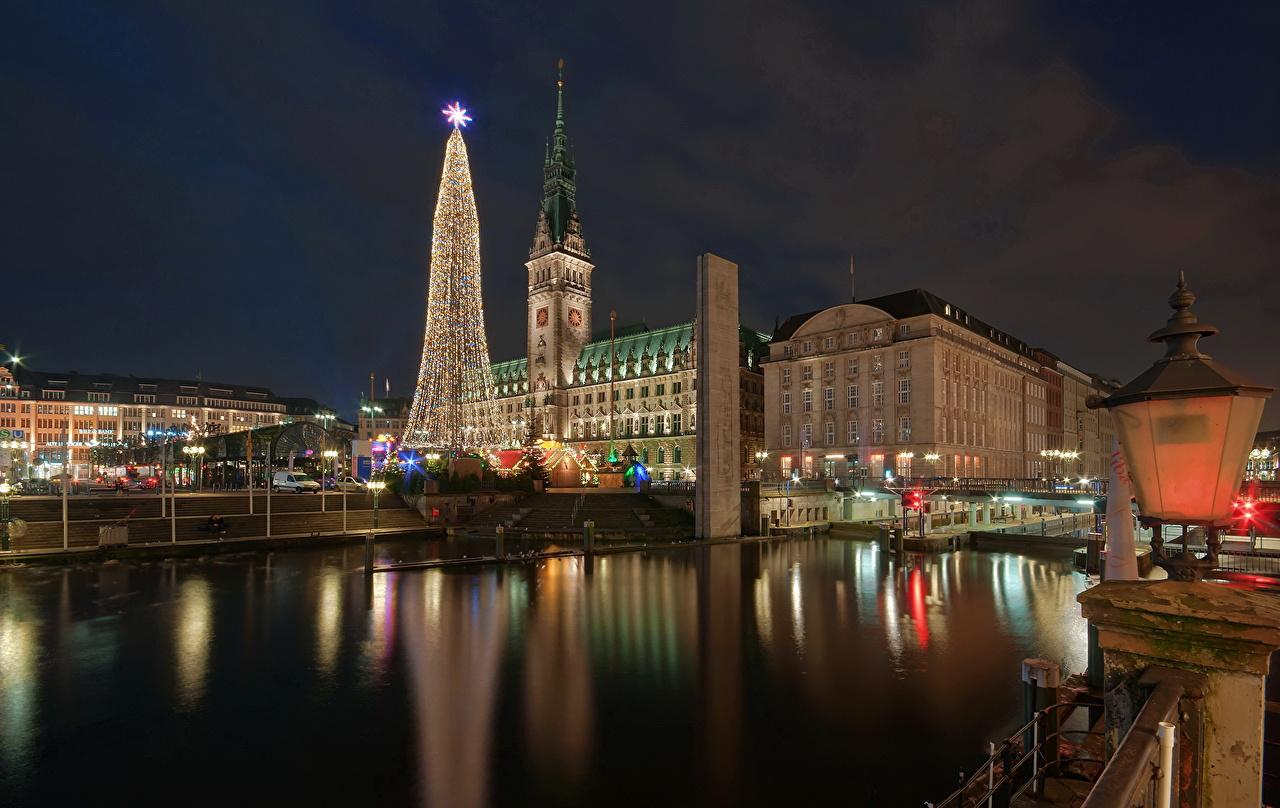 Hamburg Tannenbaum.Pictures Hamburg Germany New Year Tree Night Rivers Cities Building