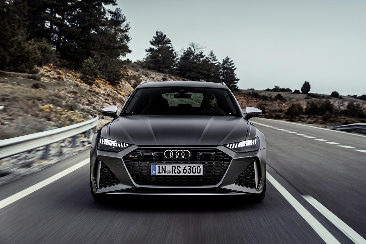 Audi rs6 avant, 2019 Movimento Bokeh Na frente Cinza Perua carro, automóvel, automóveis, velocidade, Fundo desfocado Carros