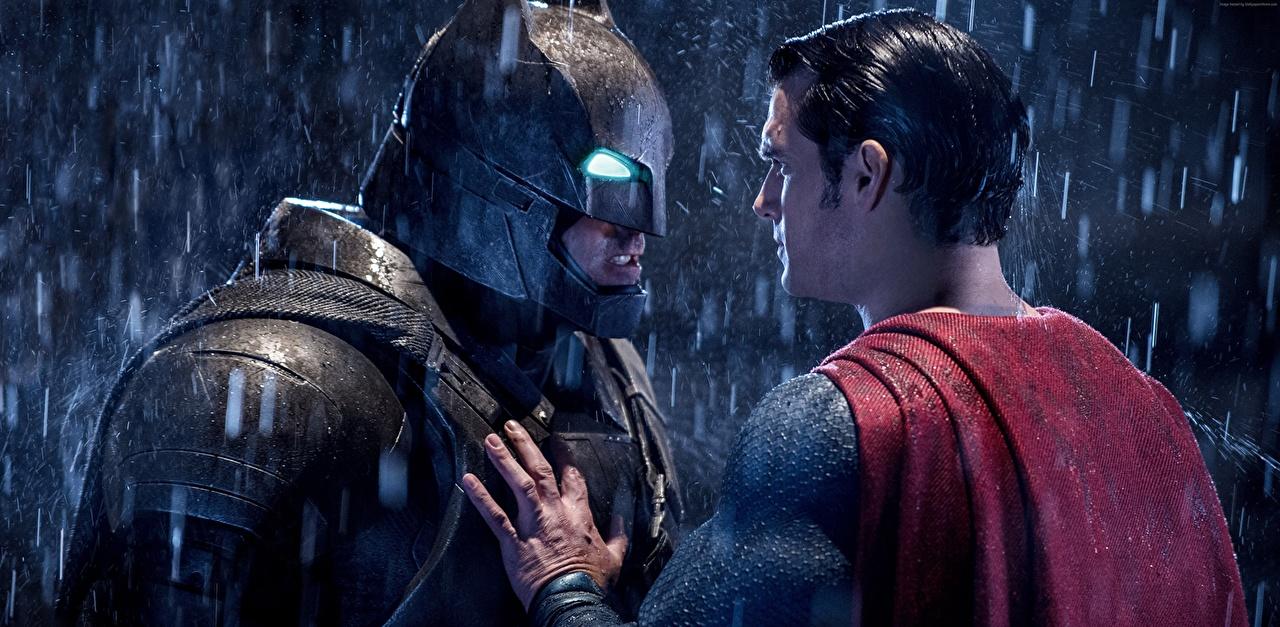 Wallpaper Batman v Superman: Dawn of Justice Ben Affleck Henry Cavill Batman hero Superman hero Men Helmet Two Rain film Masks Celebrities Man 2 Movies