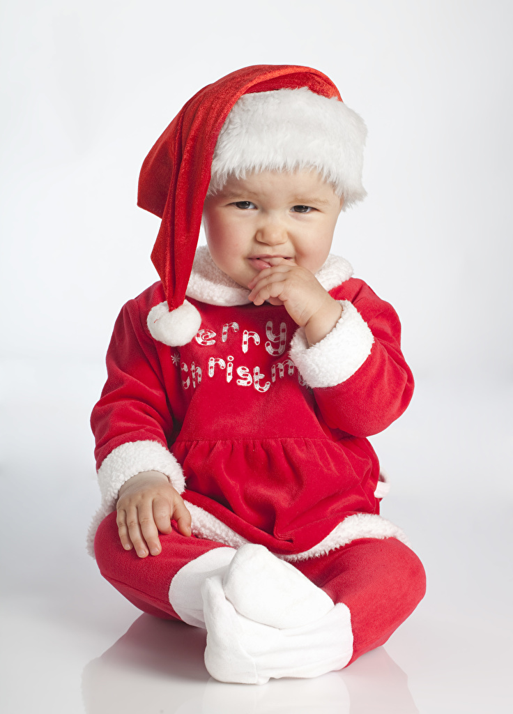 Wallpaper Infants Christmas Winter hat Uniform Glance  for Mobile phone Baby newborn New year Staring