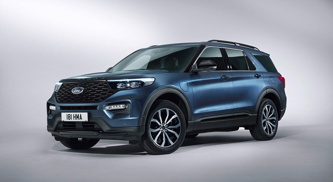 Picture Ford Crossover Explorer, Plug-in Hybrid ST-Line, 2019 Blue automobile Gray background CUV Cars auto