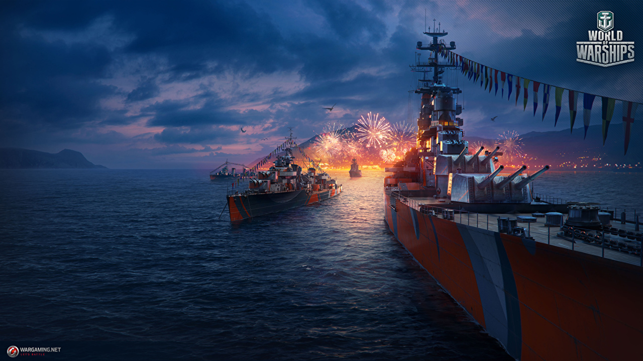 Pictures World Of Warship Fireworks Games Ships ship vdeo game