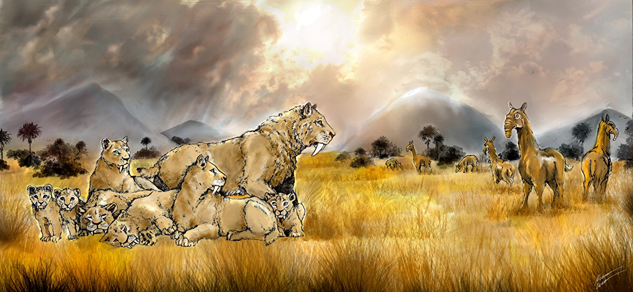 Picture Smilodon family Grass Animals Painting Art Ancient animals animal