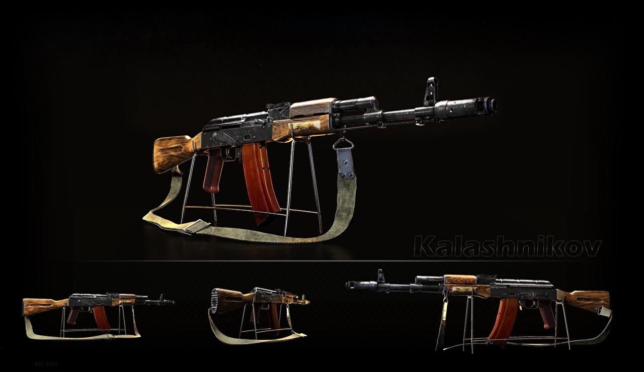 Hintergrundbilder AK 74 Sturmgewehr Russische AK-74N, Kalashnikov Schwarzer Hintergrund Heer russisches russischer Militär