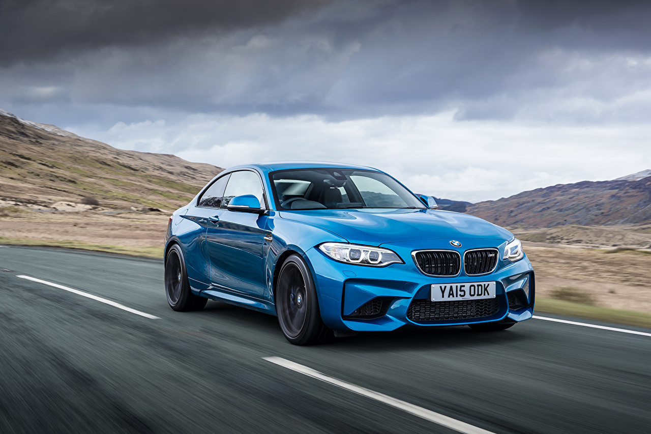 Desktop Wallpapers 2016 BMW M2 Coupe Light Blue Motion Cars Metallic moving riding driving at speed auto automobile