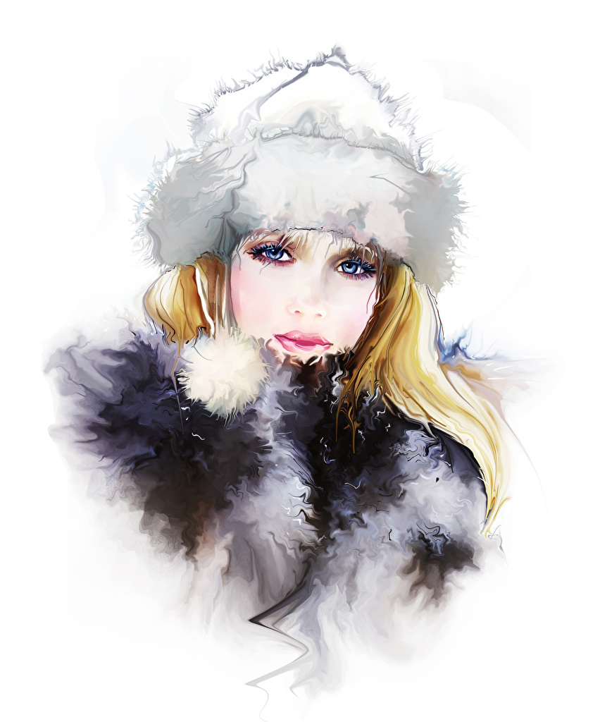 Bilder Blond Mädchen Mütze Mädchens Starren Gezeichnet Weißer hintergrund Blondine Blick